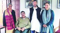 Rahul with a team of the Disabled Rights Group on Saturday.