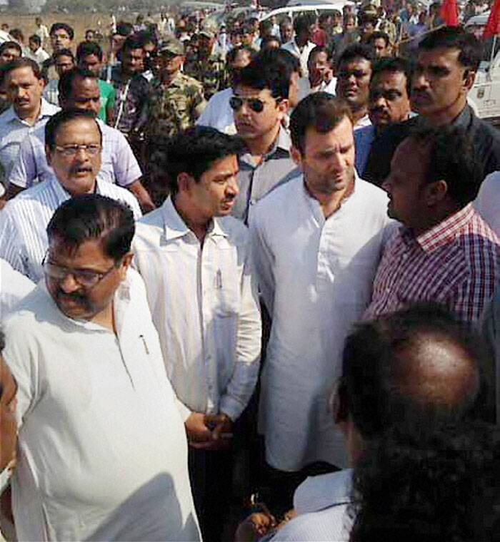 Congress vice president Rahul Gandhi visited the site of accident in Hirakud reservoir where a boat tragedy claimed nearly 24 lives, when around 120 people from the Lion's Club of Sambalpur, Hirakud and Bargarh, were returning after going to other side of the reservoir for a picnic. (PTI)