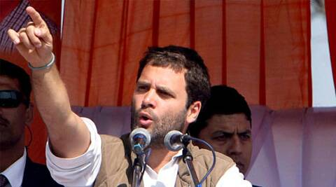 Congress Vice-President Rahul Gandhi addressing a public meeting in Dehradun on Sunday. (PTI)