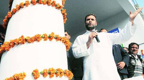 Congress vice-president Rahul Gandhi in Amethi on Wednesday. (Express photo)