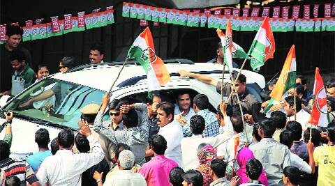 Congress vice-president Rahul Gandhi during a road show in Bhubaneswar on Sunday. AP