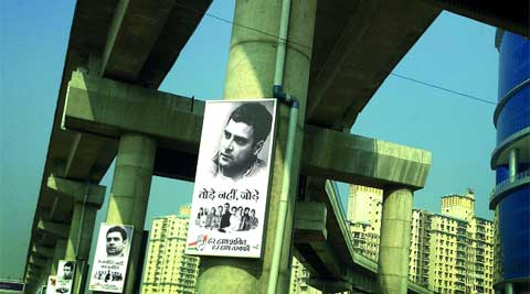 'Connect,' says Rahul Gandhi's posters that dot the pillars of the Gurgaon Rapid Metro. Raj Kamal Jha