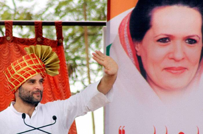 Congress Vice President Rahul Gandhi addressing a rally at Belgaum in Karnataka on Saturday. (PTI)