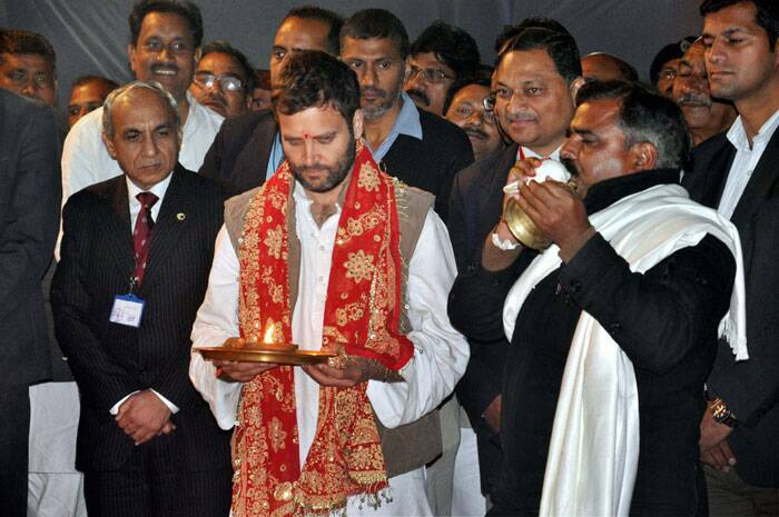 Congress Vice President Rahul Gandhi performs 'puja' during foundation stone laying of Rail Neer bottling plant at Gauriganj in Amethi, Uttar Pradesh. (PTI)