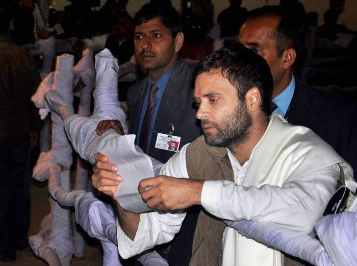 "Congress leader Rahul Gandhi slammed the SP-led UP government over non-implementation of Food Security Act in the state, saying the state government was ""depriving"" people of the benefits of the scheme. <br /> Congress Vice President Rahul Gandhi during foundation stone laying ceremony of Rail Neer bottling plant at Gauriganj in Amethi, Uttar Pradesh. (PTI)"