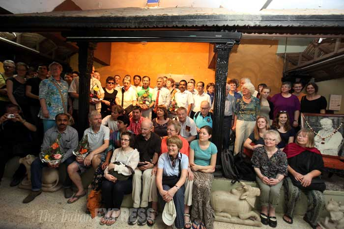 Members of the Camerata Instrumentale visit Raja Dinkar Kelkar Museum on Monday. (IE Photo: Arul Horizon)