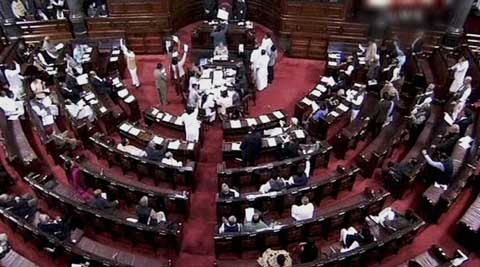 Tempers ran high in Rajya Sabha as members tore official copies during protest over Telangana row. (PTI Photo)