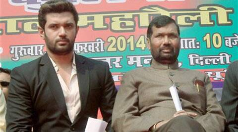 LJP leader Ram Vilas Paswan along with his son Chirag Paswan attending a rally of railway porters in New Delhi on Thursday.