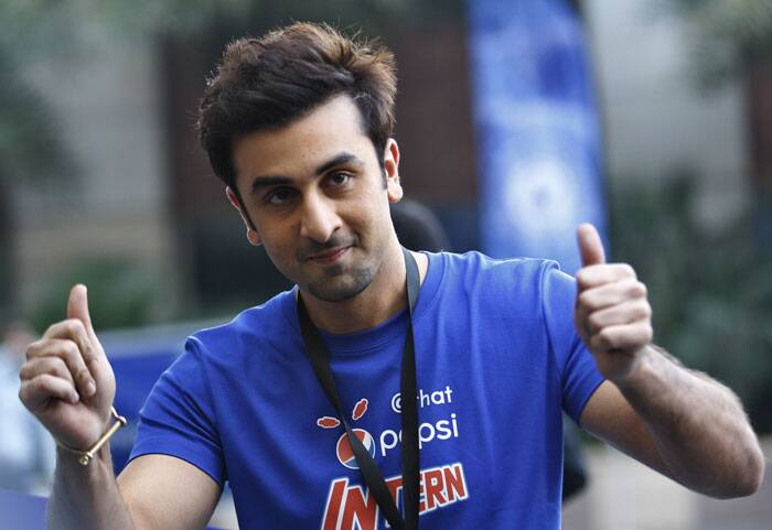 Its a 'thumbs up' from Ranbir. (AP)