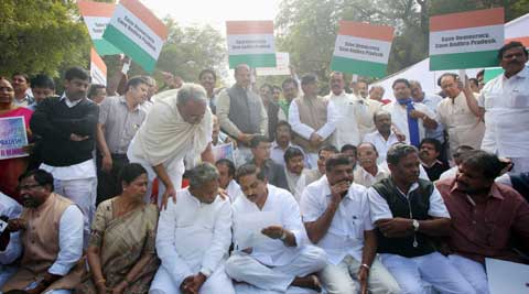 Reddy sat on dharna in protest gainst the centre's move to carve out a separate state of Telangana. (PTI Photo)