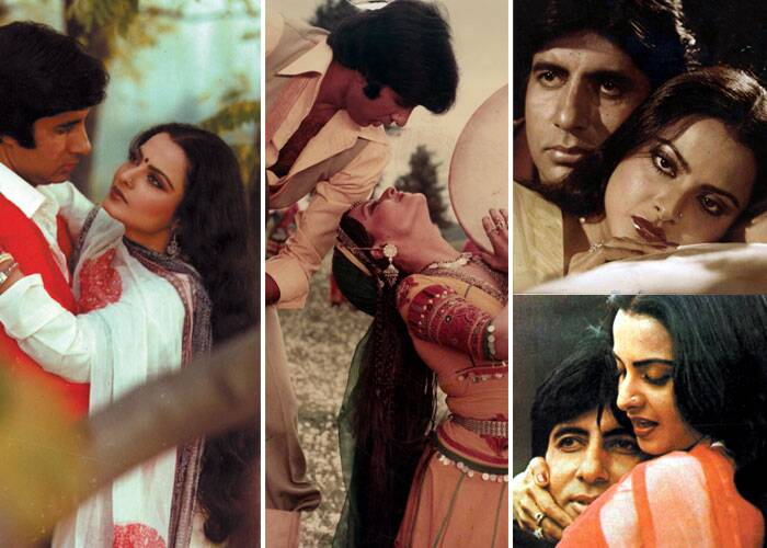 <b>Amitabh Bachchan – Rekha</b>: Theirs is supposedly said to be the most passionate affair in Bollywood, and their chemistry sure translated onscreen. One of their biggest hits, 'Silsila' saw the two lovers depict an extra-marital relationship. Some say it was a reflection of the real-life love triangle between Amitabh, Jaya and Rekha. They were also seen together in films like 'Suhaag, Muqaddar ka Sikander, Mr. Natwarlal' and 'Do Anjaane'.