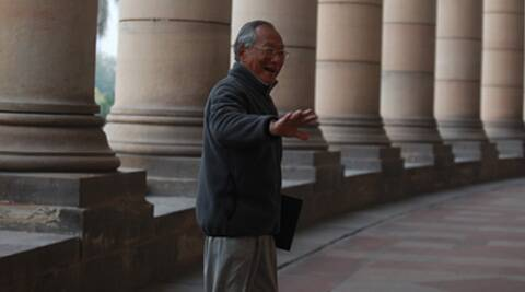 'Parliament is not what it used to be once... It's only shouting and shouting,' says Keishing. (IE Photo: Renuka Puri)
