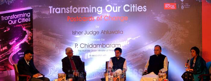 In his welcome speech, Shekhar Gupta, Editor-in-Chief of The Indian Express, said that a big part of the Indian development story was how villages were transforming themselves into towns. <br /> (L-R) Financial Express Editor Sunil Jain, Director for Geo-economics and Strategy Sanjaya Baru, Union Minister of State for Power Jyotiraditya Madhavrao Scindia, BJP leader Arun Jaitley and NDTV Group Editor Barkha Dutt at the book launch in New Delhi. (IE Photo: Ravi Kanojia)