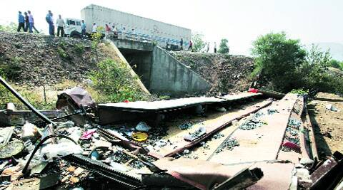 The spot where the bus carrying pilgrims from Gujarat lost control and plunged into a trench; mangled remains of the bus.