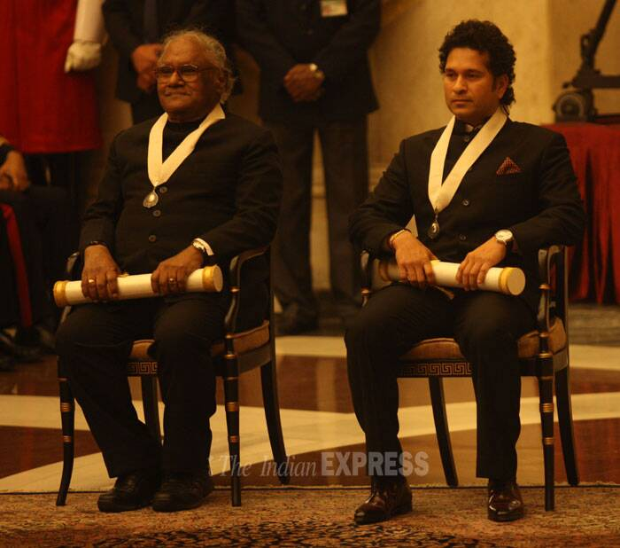 Legendary cricketer Sachin Tendulkar and eminent scientist Prof C N R Rao were on Tuesday (February 4) conferred with the country's highest civilian honour Bharat Ratna by President Pranab Mukherjee. (IE Photo: Neeraj Priyadarshi)