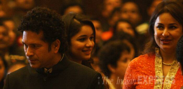 Sachin with wife Anjali and daughter Sara. (IE Photo: Neeraj Priyadarshi)