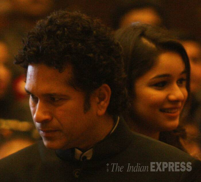 Sachin Tendulkar's daughter Sara was also at Rashtrapati Bhavan for her father's felicitation ceremony. (IE Photo: Neeraj Priyadarshi)