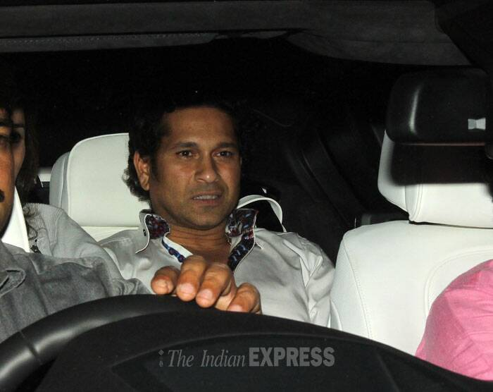 Sachin Tendulkar in his car before leaving the restaurant. (Photo: Varinder Chawla)