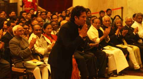 Sachin Tendulkar while receiving the Bharat Ratna. Express photo by Neeraj Priyadarshi