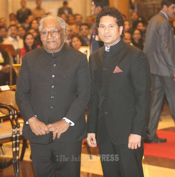 Tendulkar (40) and Rao (79), both of whom are recipients of Padma Vibhushan -- the country's second highest civilian honour, will join a list of 41 eminent personalities who have been conferred with the award that is given in recognition of exceptional service of the highest order since it was instituted in 1954. (IE Photo: Neeraj Priyadarshi)