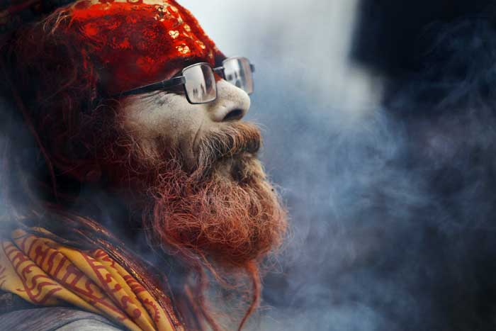 A sadhu arrives at the Pashupatinath Temple in Katmandu. (AP)