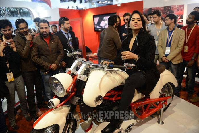 Sameera Reddy is a bike chic at Auto Expo 2014