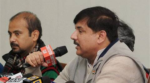 Aam Aadmi Party (AAP) spokesperson Sanjay Singh addresses a press conference in New Delhi on Monday. (PTI)