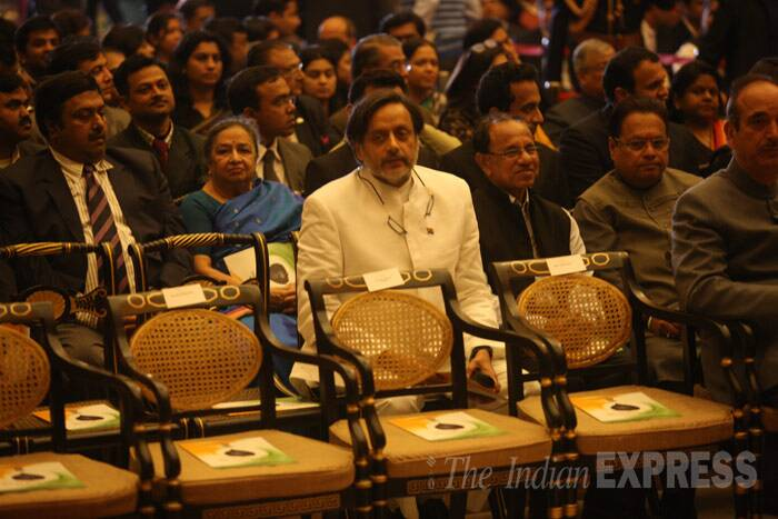 Shashi Tharoor, Union Minister of State for HRD, made his first public appearance post the death of his wife Sunanda Pushkar at the ceremony. (IE Photo: Neeraj Priyadarshi)