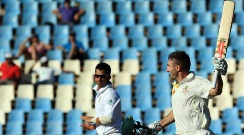 Australia's batsman Shaun Marsh, right, celebrates his century (AP)