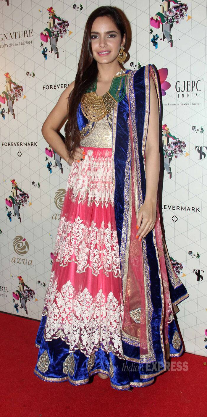 Actress Shazahn Padamsee, who was also part of the evening, was pretty in a pink floor length anarkali. (Photo: Varinder Chawla)