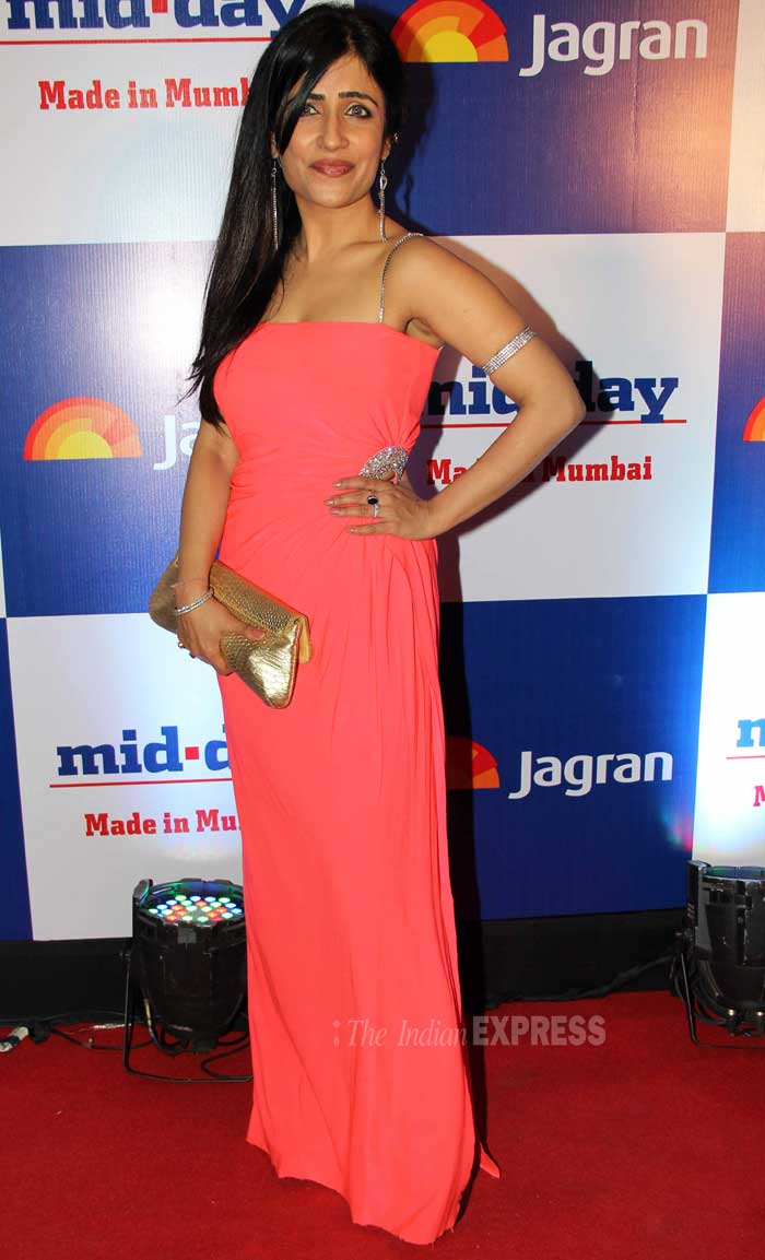 But, singer Shibani Kashyap was a hit in a orange pink gown with silver studded strap. (Photo: Varinder Chawla)