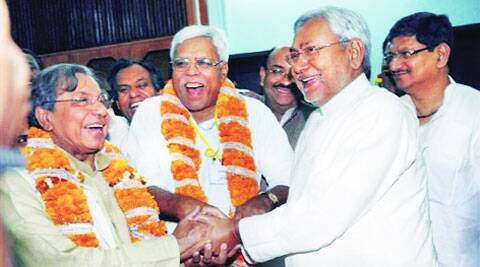 Nitish Kumar with Shivanand Tiwari and N K Singh at Bihar Assembly in Patna after they were declared winners  in the Rajya Sabha polls on March 26, 2008. PTI archive