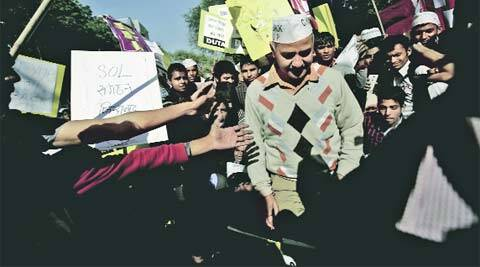 Sisodia joins DU students at Parliament Street.