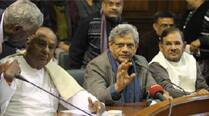 Deve Gowda, Sitaram Yechury and Sharad Yadav in New Delhi on Wednesday. (IE Photo: Anil Sharma)