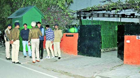 Constables outside SSP Chaudhary's Sector 16 residence on Sunday. EXpress