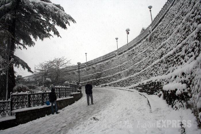 Other picturesque tourist resorts Chail and Kasauli in Solan district and Dalhousie in Chamba district have been experiencing snow. (IE Photo: Lalit Kumar)