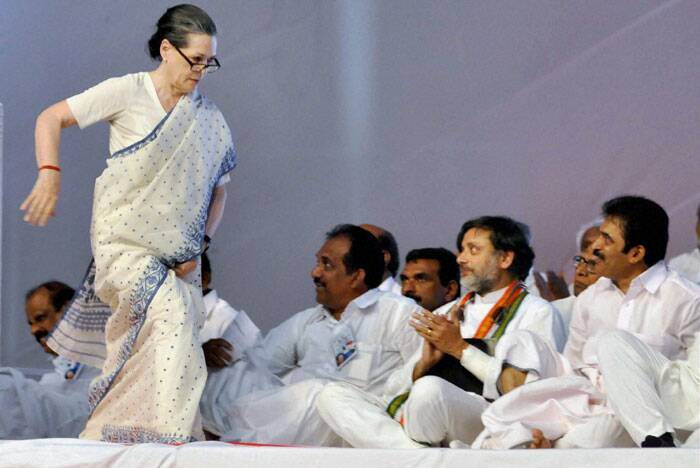 Congress President Sonia Gandhi during the launch of the party's election campaign in Kerala state, in Kochi on Saturday. Shashi Tharoor, Mukul Wasnik and other leaders are also seen. (PTI)