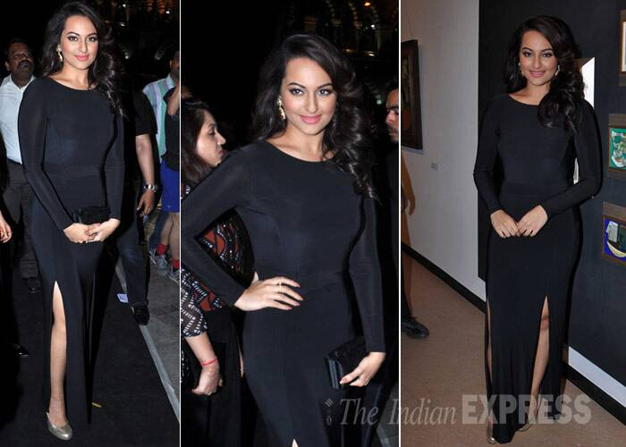 Sonakshi Sinha, who has recently shed a few kilos, made an appearance looking beautiful in black silk-jersey dress. A black clutch, wavy hair, big earrings finished out her look.  (Photo: Varinder Chawla)