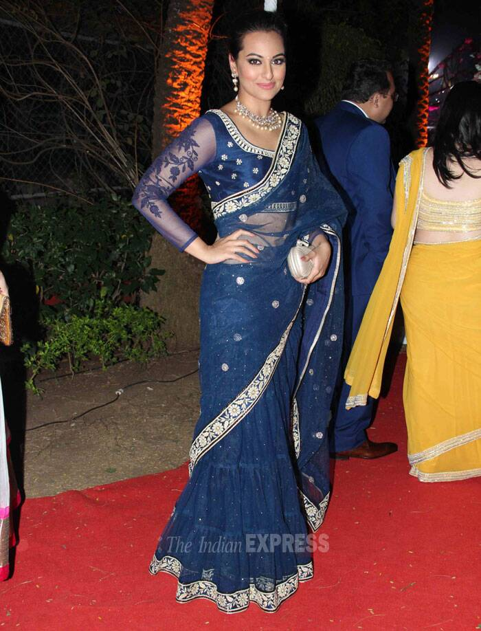 Sonakshi Sinha was a stunner in a dark blue lehnga with gold brocade. (Photo: Varinder Chawla)