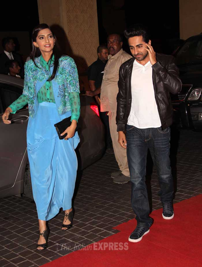 Sonam makes a quick exit with Ayushmann. (Photo: Varinder Chawla)