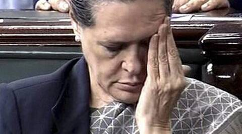 UPA Chairperson Sonia Gandhi on the last day of the winter session of the 15th Lok Sabha, in New Delhi on Friday.