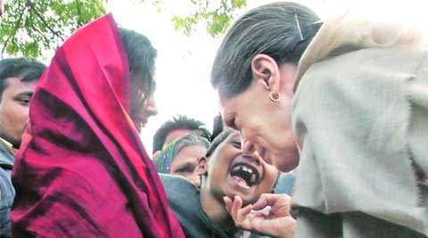 Congress chairperson Sonia Gandhi interacts with locals.