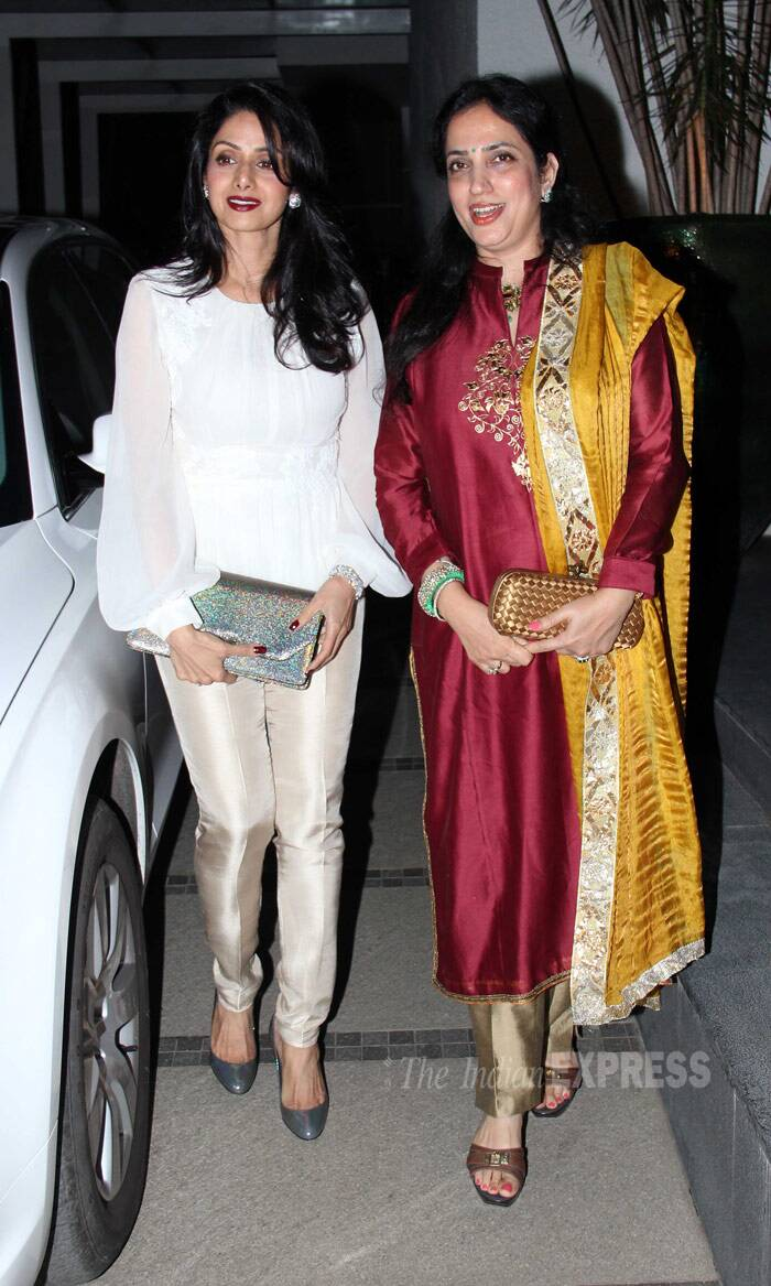 Sridevi looked stunning in an ODLR blouse teamed with cream pants and grey pumps. Seen here with Rashmi Thackeray, wife of Shiv Sena Chief Udhav Thackeray. (Photo: Varinder Chawla)