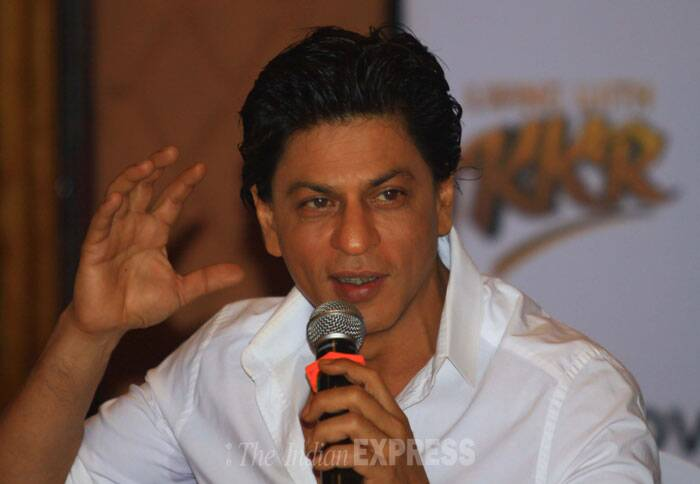 Discovery Channel will be presenting the riveting story of Indian Premier League Team(IPL) Kolkata Knight Riders' transformation from a group of struggling players in the early years to their emergence as formidable champion of the league in its new series 'Living with KKR'. <br /> Shah Rukh Khan addresses a press conference on the show 'Living with KKR' in Mumbai . (IE Photo: Amit Chakravarty)