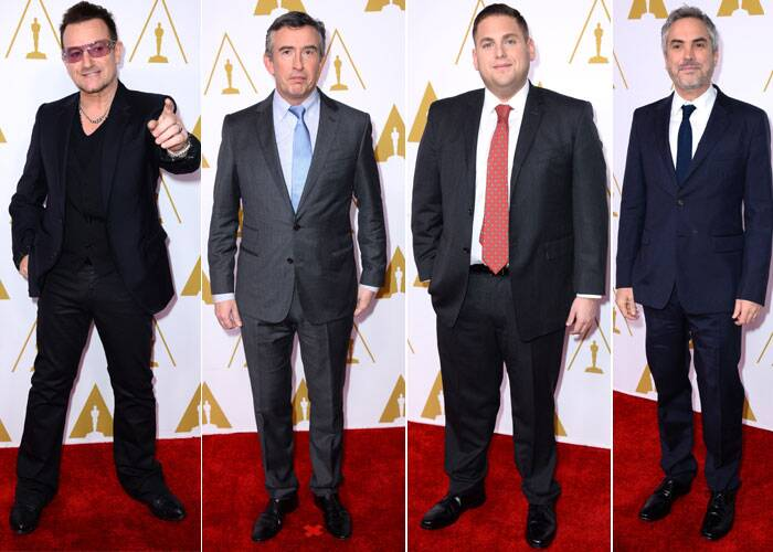 Steve Coogan, Jonah Hill, Alfonso Cuaron and Bono suited up for the Luncheon. (AP)