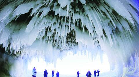 The caves at  Apostle Islands in Wisconsin have transformed into a dazzling display of ice sculptures. The caves are usually accessible only by water. AP