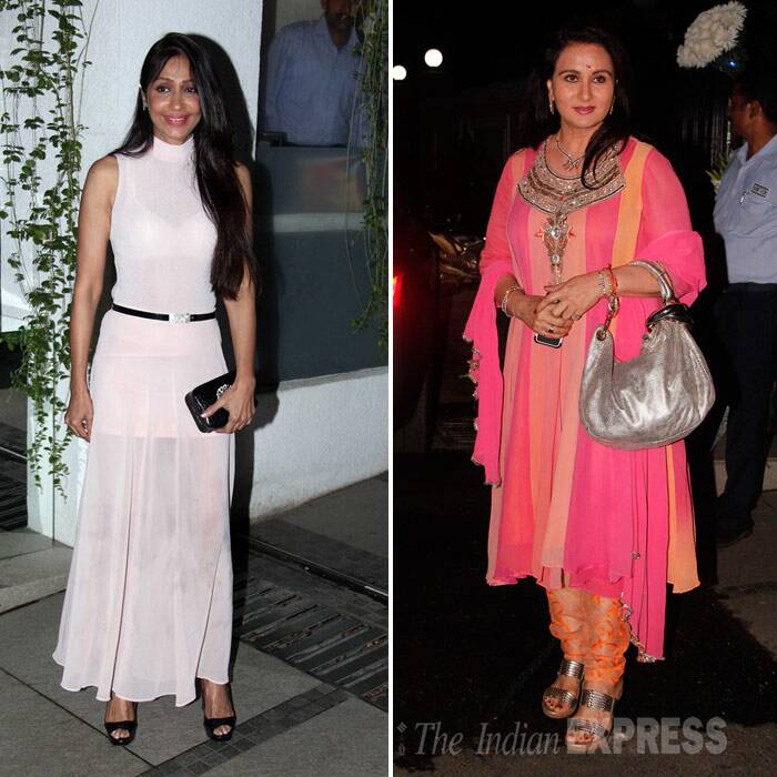 Filmmaker Ashutosh Gowariker's wife Sunita was a bit of a disappointment in a baby pink sheer belted dress while actress Poonam Dhillon chose a bright churidar suit. (Photo: Varinder Chawla)
