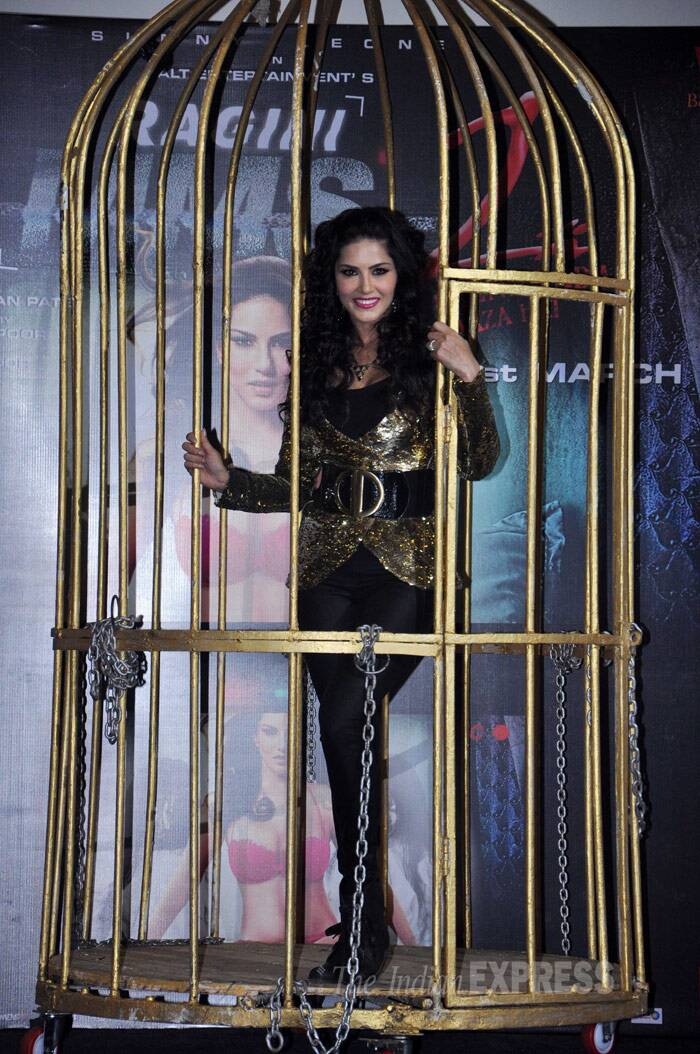 Adult-film-star-turned Bollywood actress Sunny Leone stunned the audience as she performed a live cage dance at the unveiling of her sensuous song 'Baby Doll' from the upcoming movie 'Ragini MMS 2' on Wednesday (February 12) at Infiniti Mall in Andheri, Mumbai. (Photo: Varinder Chawla)