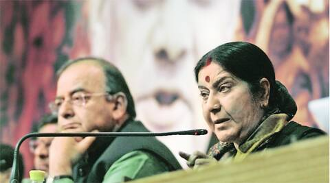 Arun Jaitley and Sushma Swaraj in New Delhi on Saturday. PRAVEEN KHANNA