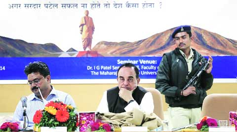 BJP leader Subramanian Swamy was the Guest of Honour at M S University's Sardar Patel seminar in Vadodara on Thursday. (Bhupendra Rana)